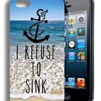 I Refuse to Sink Cute Infinity Anchor Quote Iphone 5 and 5s Case (Pixie Girl Design)
