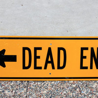Vintage DEAD END Sign, Traffic Sign, Yellow Warning Sign