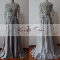 Hand Beaded See Through Top Womens Formal Evening Dresses/Long Sleeve Gown/Evening Dress/ Evening Dress Long Sleeve Evening Dress/Gray Gown