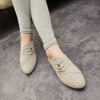 Casual Lace-Up Flat Shoes