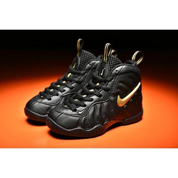 Kids Nike Air Foamposite Pro Black/gold Sneaker Shoe Us 11c - 3y - Beauty Ticks