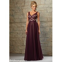 Morilee Bridesmaids 714 V-Neck Lace and Chiffon Dress