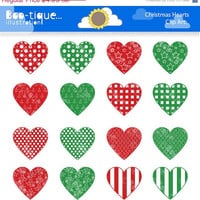 50% OFF: Christmas Hearts Clipart for Instant Download. Christmas Hearts Clip Art. Xmas clip art. Christmas Clipart. Red Hearts Clipart.