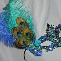 Custom Metal Mask in Shades of Turquoise, Royal and Purple - Laser Cut Metal Mask