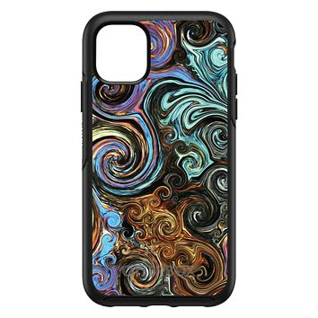 DistinctInk™ OtterBox Symmetry Series Case for Apple iPhone / Samsung Galaxy / Google Pixel - Gold Brown Black Blue Abstract Swirls