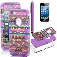 iPhone 5S Case, Pandamimi ULAK(TM) 3-Pieces Hybrid High Impact Tribal PC + Silicone Case Cover for Apple iPhone 5S 5 5G with Screen Protector and Stylus (Pink+Purple)