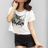 Cat Graphic Cropped Tee