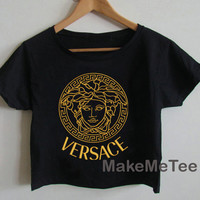 New VERSACE Medusa Gold Crop top Tank Top Women Black and White Tee Shirt - MM1