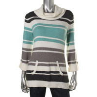 Style & Co. Womens Petites Knit Long Sleeves Turtleneck Sweater