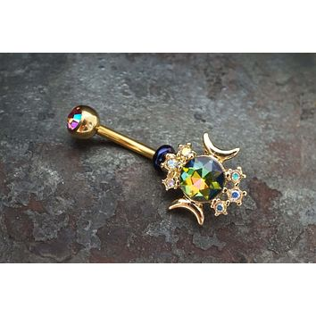 Sun and Moon Gold Belly Button Ring