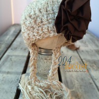 Baby Hat size 0-12 mos, Cream and Brown Baby Hat, Fanciful Fall 2015 Collection, Baby Hat, Newborn Pictures, Photo Prop, Photography Prop