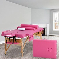"""PINK Massage Table Bed Spa Bed 2 Fold Portable 73"""" W/Sheet Cradle Cover 2 Bolsters"""