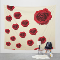 Red Roses Wall Tapestry by Haroulita