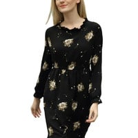 Black Floral Ruffle Hem Long Sleeve Dress