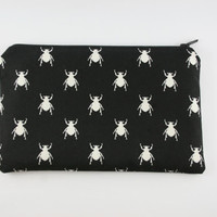 Bug pencil case, Insect pencil case, Gothic make up bag, cosmetic purse, zip pouch.