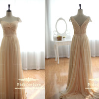 Hot Sale Champagne Chiffon Prom Dress Cap Sleeves Bridesmaids Dress Sweetheart Prom Gown