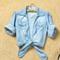 # Free Shipping # Ladies Blue Jean Shirt One Size WO1015bl from ViwaFashion