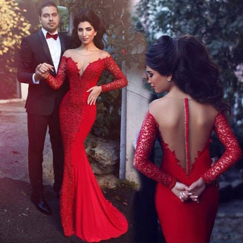 Mermaid Red Cocktail Prom Party Dress with Long Sleeves pst0543