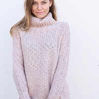 Mauve Turtleneck Chunky Sweater