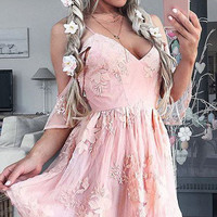 Baby Pink Sweetheart Homecoming Dress, Applique Strapless Short Homecoming Dress
