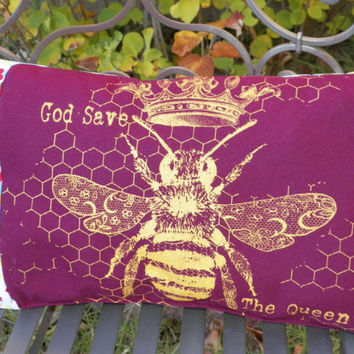 Decorative Pillow Bee Screenprint God Save the Queen