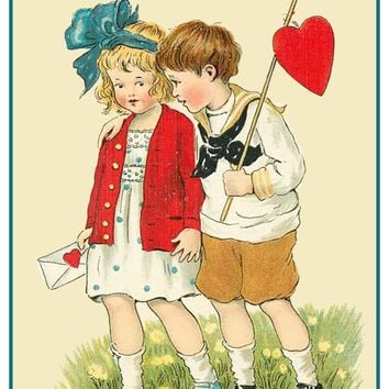 Vintage Valentine Boy Girl Fishing for Hearts Love Counted Cross Stitch Pattern