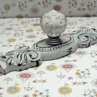 Cabinet Drawer Pull Shabby Style Chic White Ornate Cast Iron Backplate acrylic Knob French Paris Do It Youself DIY
