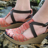 Ethnic Womens Sandals Tribal Naga Embroidery Faux Leather Straps Wedge Heel Vegan