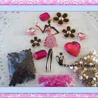 DIY 3d alloy rhinestone bling elegant lady and kitty kawaii decoden cabochon cell phone deco kit