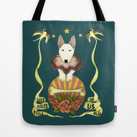 love makes fools of us- bull terrier portrait Tote Bag by the greener pastures   Society6