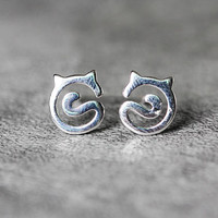 Cat Ears And Tail Cat Earrings Sterling Silver Cat Stud Earrings, animal earrings, kitty studs earrings, cat Jewelry,cat lover gifts for her
