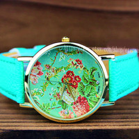 One of the most popular watches, retro flower watches, fashion ladies watch, leisure watches, leather watch