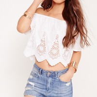 Missguided - Tall Exclusive Bardot Lace Crop Top White
