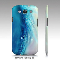 "samsung galaxy S3, iphone4, 4s,5 case, ""Blue feather"" turquoise, aqua, waterdrops, macro photography"