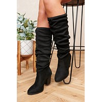 Stay Thriving Slouchy Faux Suede Boots (Black)