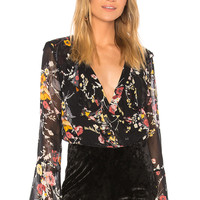 Band of Gypsies Abstract Floral Bouquet Bodysuit in Black Mustard