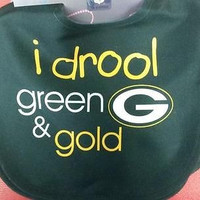"NFL Green Bay Packers Baby Bib ""I Drool Green and Gold"""