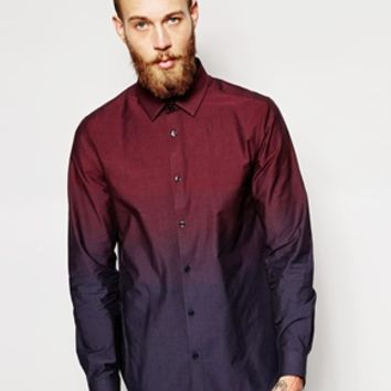 ASOS Smart Shirt in Ombre Fabric