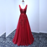 Lace Appliqued Evening Dresses 2016 Formal Beaded Burgundy/Coral/Turquoise/Blue/Yellow/Gray/Lavender Prom Gowns Custom Made Long