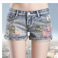 Women's Trending Popular Fashion 2016 Summer Beach Holiday Floral Printed Jeans Shorts Trousers Pants _ 5060