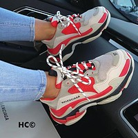 Alwayn BALENCIAGA Triple S High Quality Women Men Leisure Contrast Color Shoes Sport Sneakers Light Grey&Red