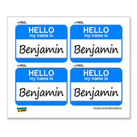 Benjamin Hello My Name Is - Sheet of 4 Stickers