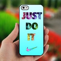Nike Just Do It cyan Bling - Photo on Hard Cover For iPhone 4,4S