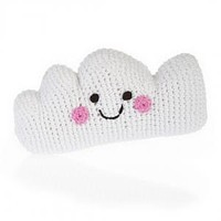 Happy Cloud Knitted Baby Rattle - Fair Trade