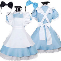 Hot Sale Alice in Wonderland Costume Lolita Dress Maid Cosplay Fantasia Carnival Halloween Costumes for Women