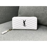 YSL Saint Laurent Fashion New Joker Casual Wallet Clutch White