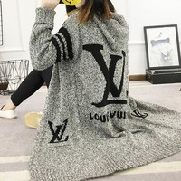 LV Louis Vuitton Adidas Hooded Sweater Knit Cardigan Jacket Coat (Size: S/M,L,XL,2XL,3XL,4XL)