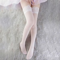 Sexy Thigh High lace Stocking Women Girl Over the Knee Socks silk thin Stockings Student sexy Japanese Stockings 3 Colors