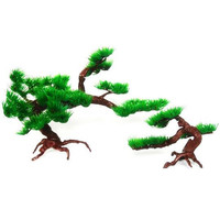 New Fisherman Decorative Plant Plastic Pine Tree Aquarium Fish Tank Rockery Bonsai Ornament For Turtle fish tank