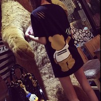 """Moschino"" Fashion Casual Scratches Ripped Cartoon Bear Print Short Sleeve Women T-shirt Tops"